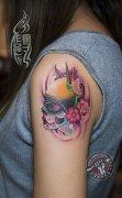 school tattoo风格的死亡女郎纹身作品遮盖胎记