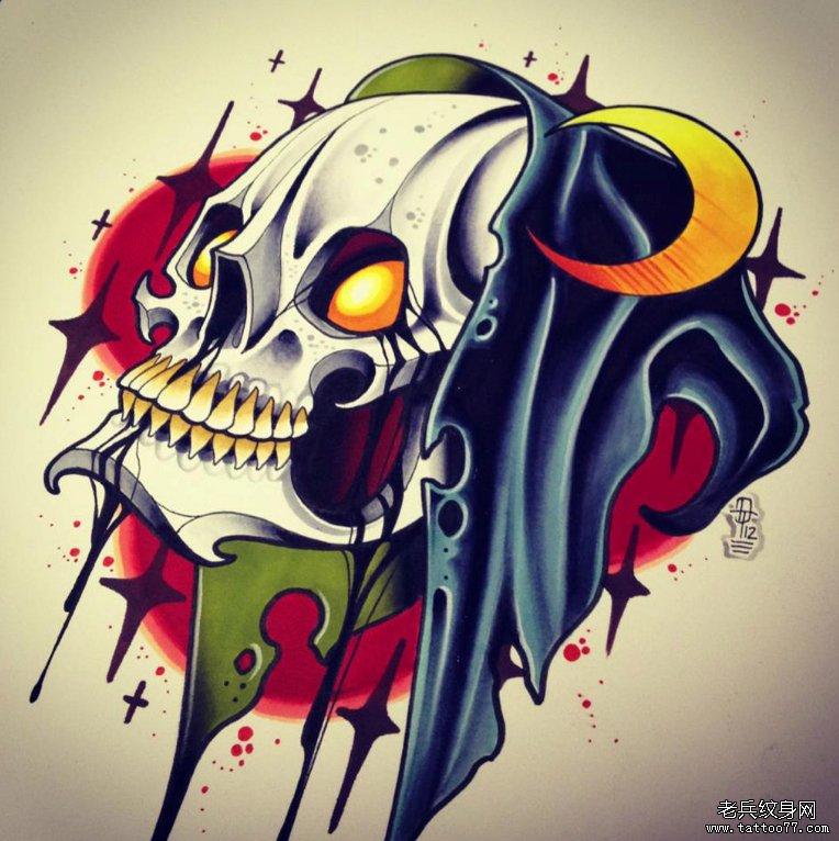 纹身/分享一款时尚个性骷髅纹身图案