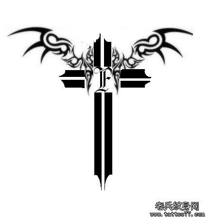 武汉纹身网强烈推荐一款图腾十字架翅膀纹身图案图片
