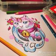 武汉纹身网为你推荐一款招财猫纹身手稿图