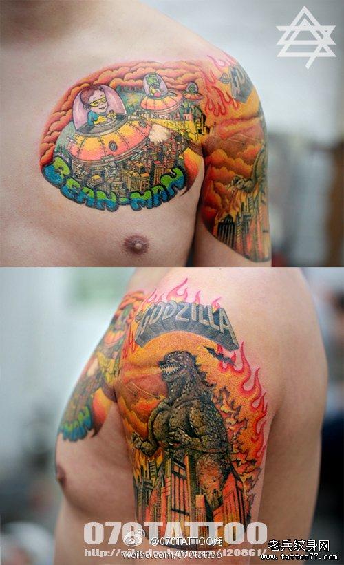 推荐一款个性卡通半胛纹身图案