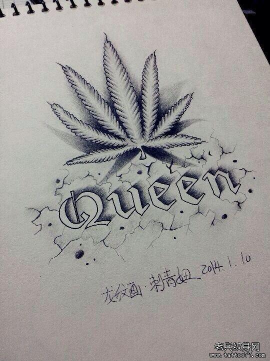 武汉纹身网提供一款枫叶字母纹身图案
