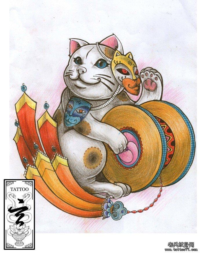 武汉最好的纹身店推荐一款带面具的猫纹身图案