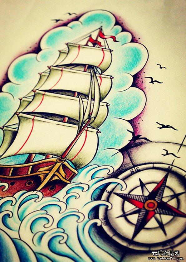 帆船美女花纹身手稿图案由武汉最好的纹身店推荐