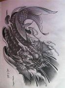 鲤鱼跃龙门纹身手稿图案由武汉纹身网推荐图片