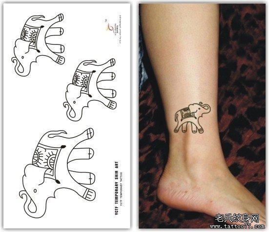一款女性脚踝小象纹身图案有武汉最好的刺青店推荐