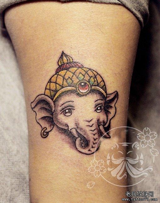 武汉纹身网推荐一款手臂象神文身图案图片