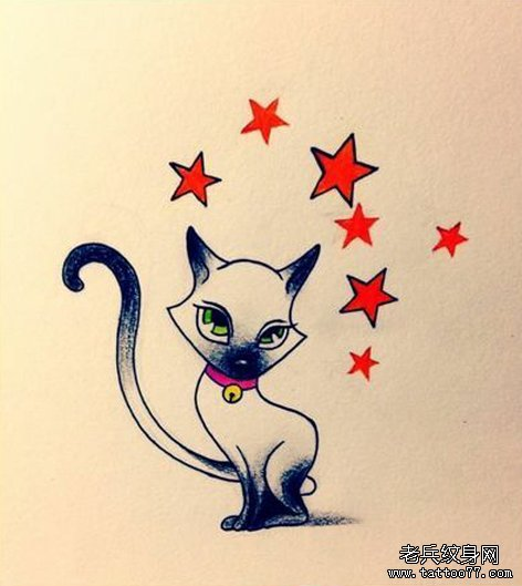 武汉纹身网推荐一款猫咪五角星纹身手稿图案