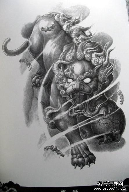 武汉刺青网推荐一款唐狮文身手稿图案_武汉纹身店之家