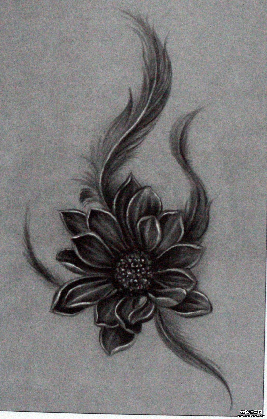 一款羽毛莲花 文身手稿图案有武汉纹身店推荐