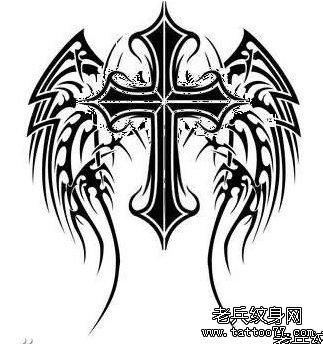 十字架翅膀纹身图案有武汉最时尚的纹身网推荐