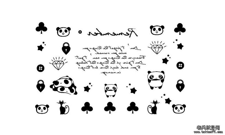 一组图腾卡通熊猫文身图案有武汉纹身店推荐