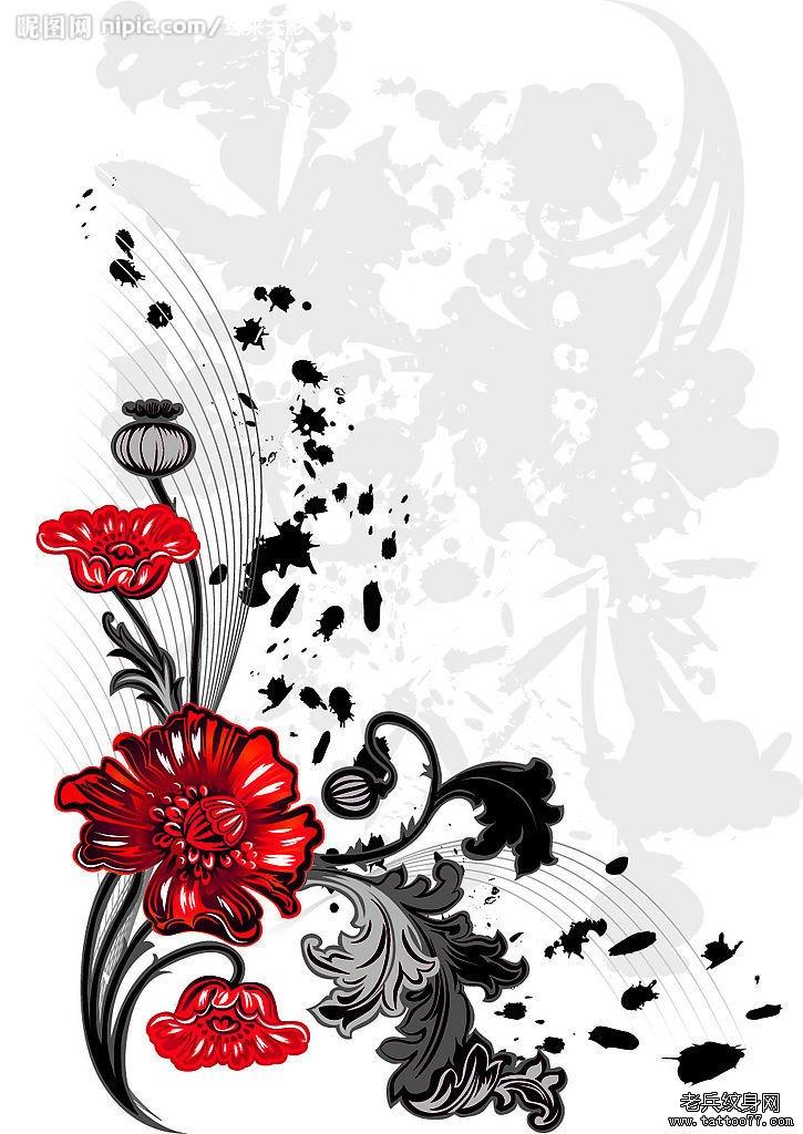 一款花藤文身手稿图案由武汉文身店提供_武汉纹身店之图片
