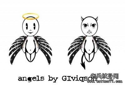 情侣天使文身图案由武汉最好的文身店推荐_武汉纹身店