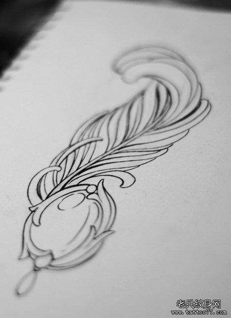 武汉最好的文身店推荐一款羽毛手稿图案_武汉纹身店之