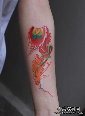 武汉纹身店推荐一款手臂彩色羽毛纹身图案