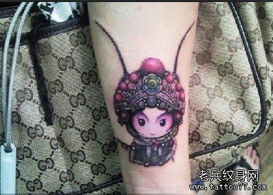 武汉最好的纹身店推荐一款手臂花旦纹身图案