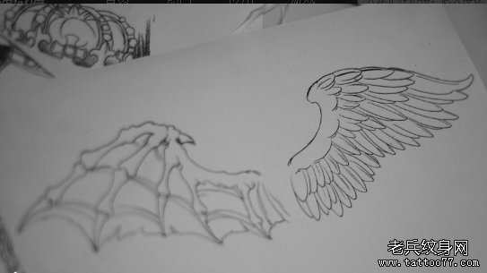 一款天使恶魔翅膀纹身手稿图案由武汉最好的纹身店