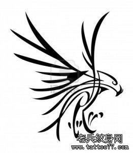 武汉最好的纹身店推荐一款图腾老鹰纹身手稿图案