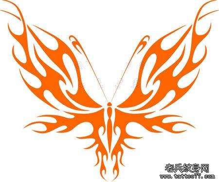 一款蝴蝶纹身手稿图案由武汉纹身店推荐