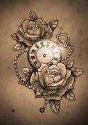 武汉最好的纹身纹身店推荐一款玫瑰花怀表纹身图案