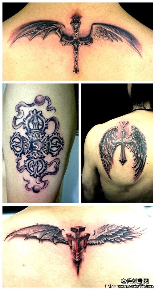 一款十字架天使翅膀纹身图案由武汉纹身店推荐