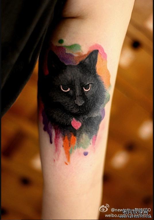 炫彩黑喵咪纹身图案由武汉最好的纹身店推荐
