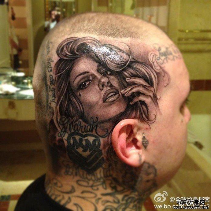 一款头部女郎纹身图案由武汉最好的刺青店推荐