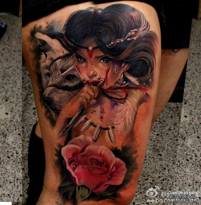 武汉纹身店推荐一款腿部欧美时尚女郎纹身图案