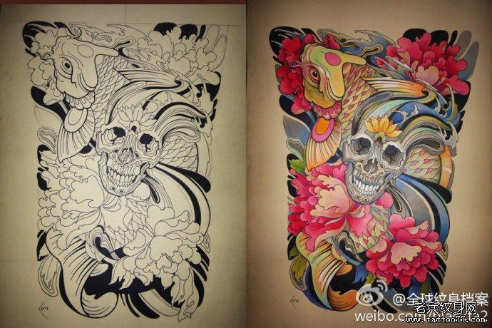 满背纹身手稿图案有武汉最好的纹身店推荐图片