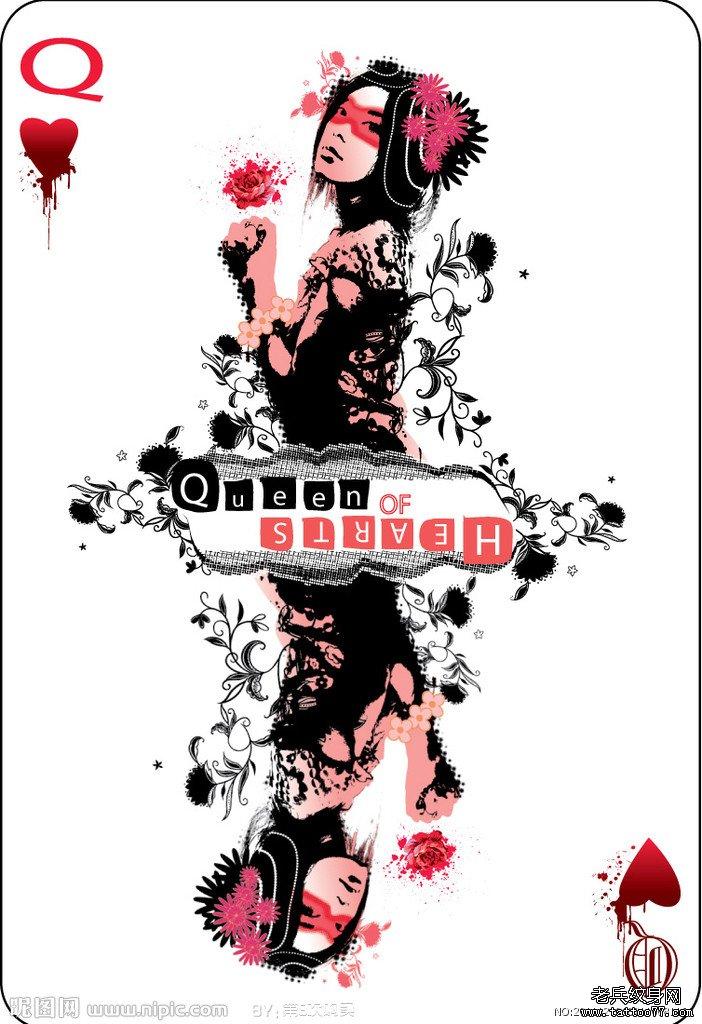 扑克牌纹身图案由武汉最好的刺青店推荐