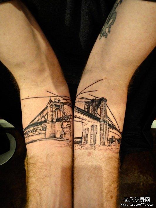手部之特别风格大桥纹身图案