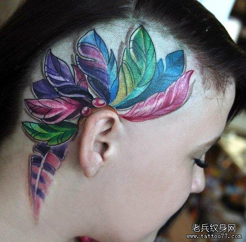 武汉纹身店推荐一款头部彩色纹身图案