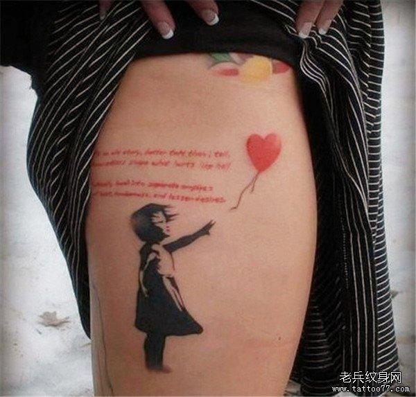 女生腿部卡通纹身图案由武汉纹身店推荐图片