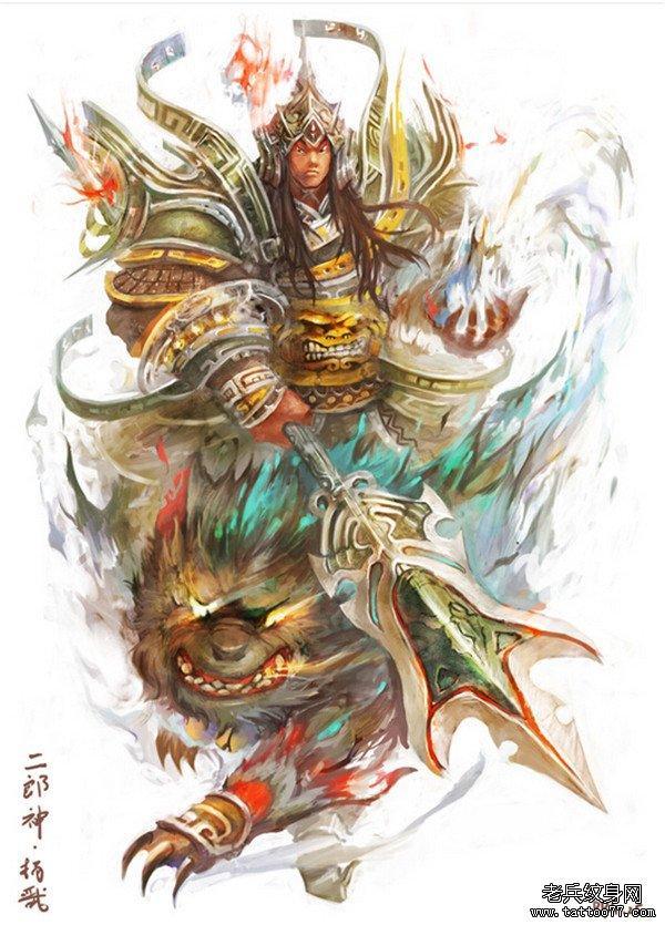 一款二郎神纹身手稿图案
