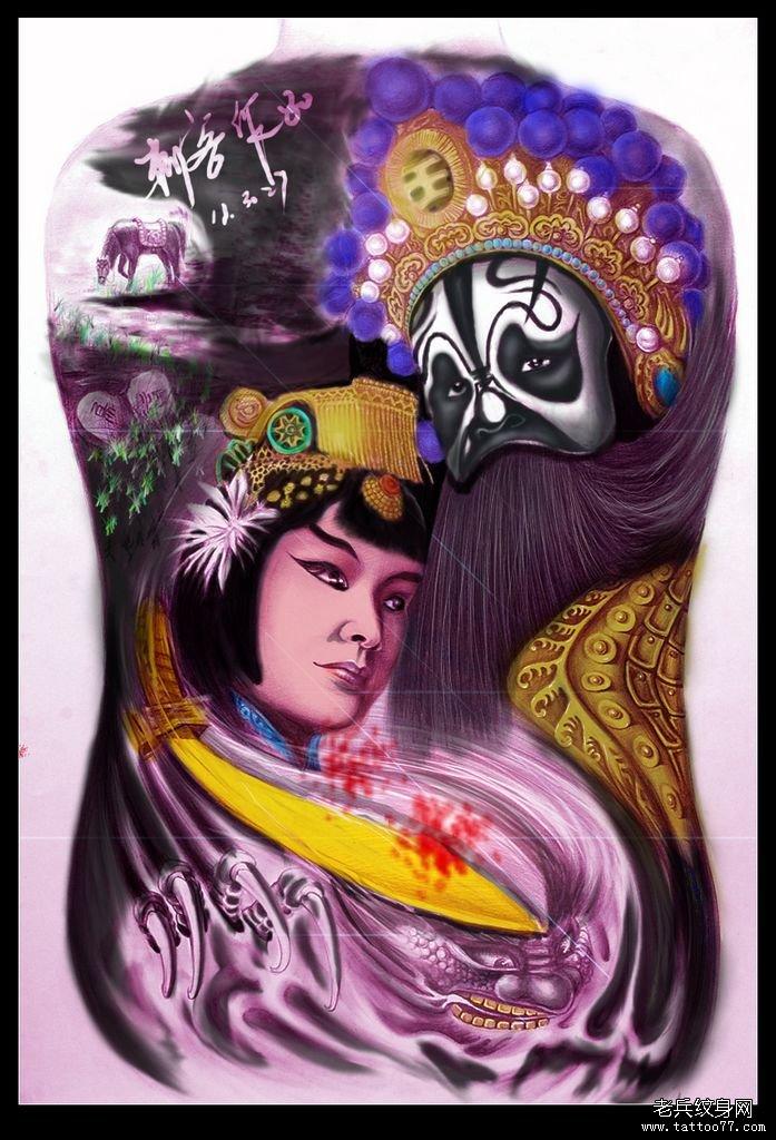 武汉最好的纹身店推荐一款彩色西楚霸王纹身图案