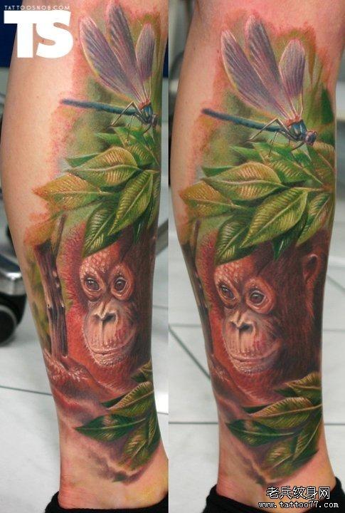 腿部一款个性猴子蜻蜓纹身图案