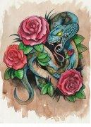 武汉最好的纹身店推荐一款彩色蛇牡丹花纹身手稿图案图片