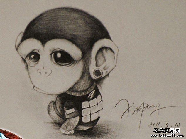 小猴子纹身图案由武汉最好的纹身店推荐
