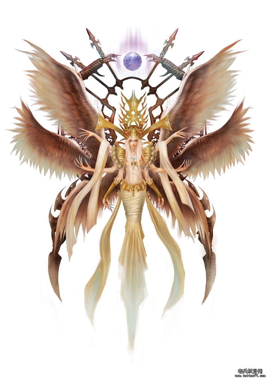 武汉最好的纹身店推荐一款六翼天使纹身图案图片