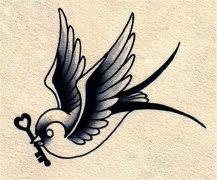 黑灰素描燕子纹身手稿图片