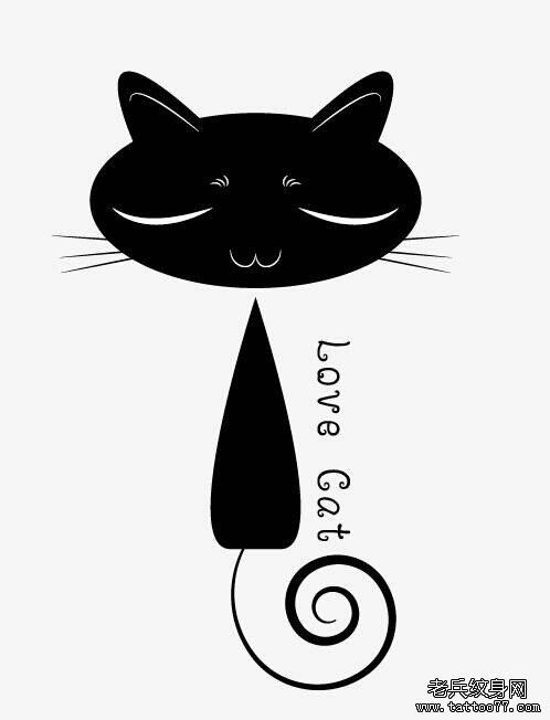 猫咪字母纹身手稿图案由武汉最好的刺青店推荐