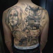满背大气日本艺妓纹身图案图片
