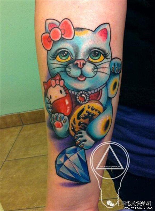 武汉最好的纹身店推荐一组招财猫纹身图案图片