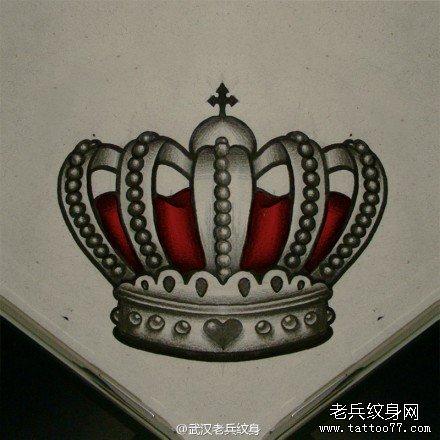 大v字母皇冠纹身手稿图案