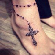 女性脚链纹身图案由武汉最好的刺青店推荐