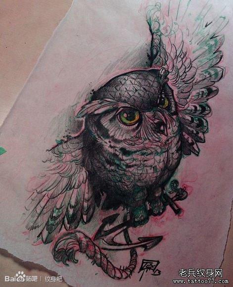 一组代表智慧的猫头鹰纹身图案由武汉纹身推荐图片