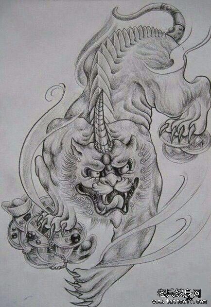一组招财貔貅纹身手稿图案由武汉纹身推荐