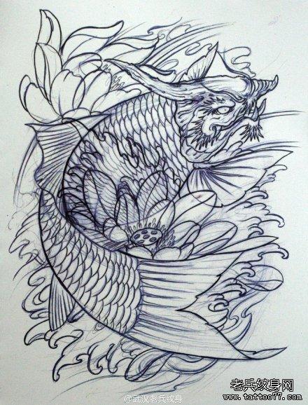 一组鳌鱼纹身手稿图案由武汉最好的纹身店推荐