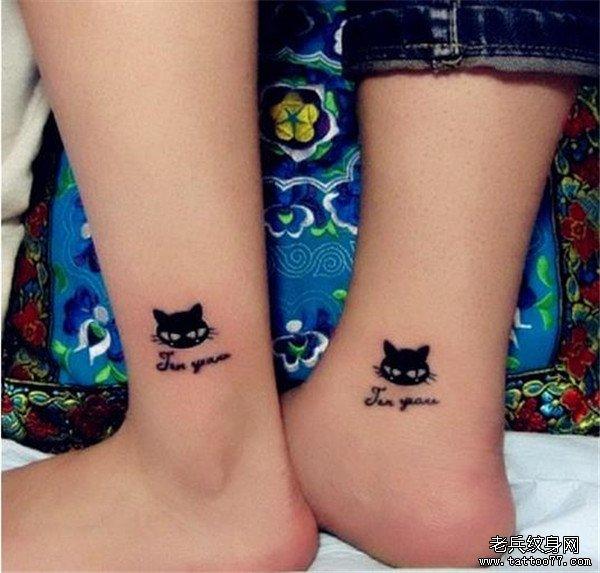 情侣脚踝猫咪纹身图案